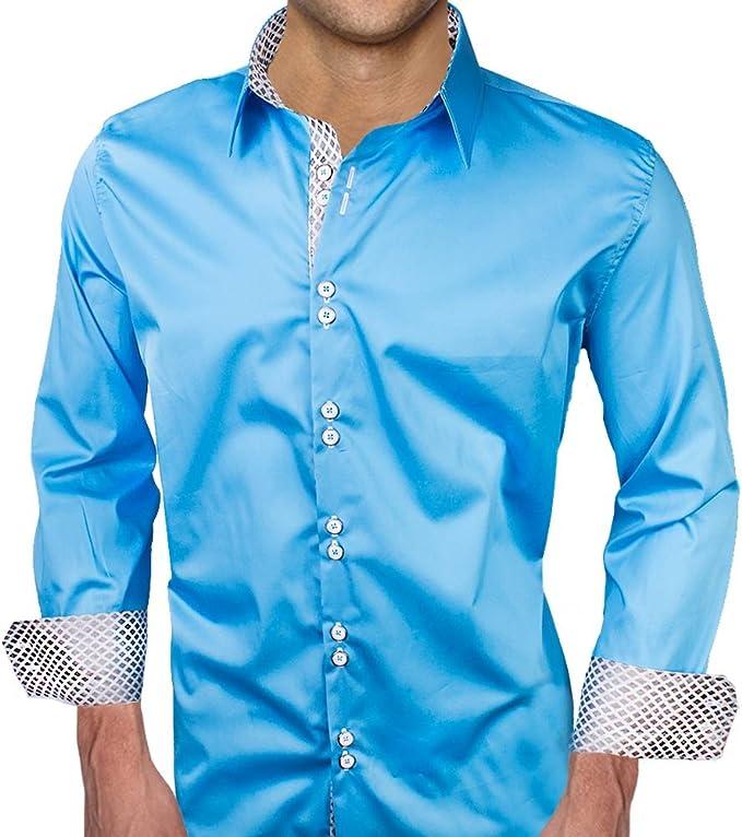 Light Blue with White Metallic Designer Dress Shirt Made in USA