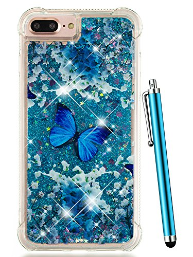 iPhone 8 Plus Case Glitter,CAIYUNL Liquid Sparkle Bling Luxury Clear Cute Phone Cases Slim Cover TPU Girls Kid Men Shockproof for Apple iPhone 7 Plus/iPhone 6S Plus/iPhone 6 Plus&Stylus-Blue Butterfly