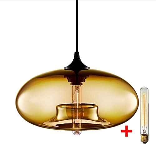 Berlato Adjustable Round Glass Ceiling Light, Creative Personality Stained Glass Pendant Light, Restaurant Modern Bar Living Room Home Decoration Fixture Chandelier Amber