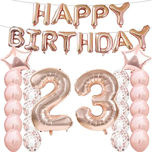 Sweet 23th Birthday Decorations Party Supplies,Rose Gold Number 23 Balloons,23th Foil Mylar Balloons Latex Balloon Decoration,Great 23th Birthday Gifts for Girls,Women,Men,Photo Props