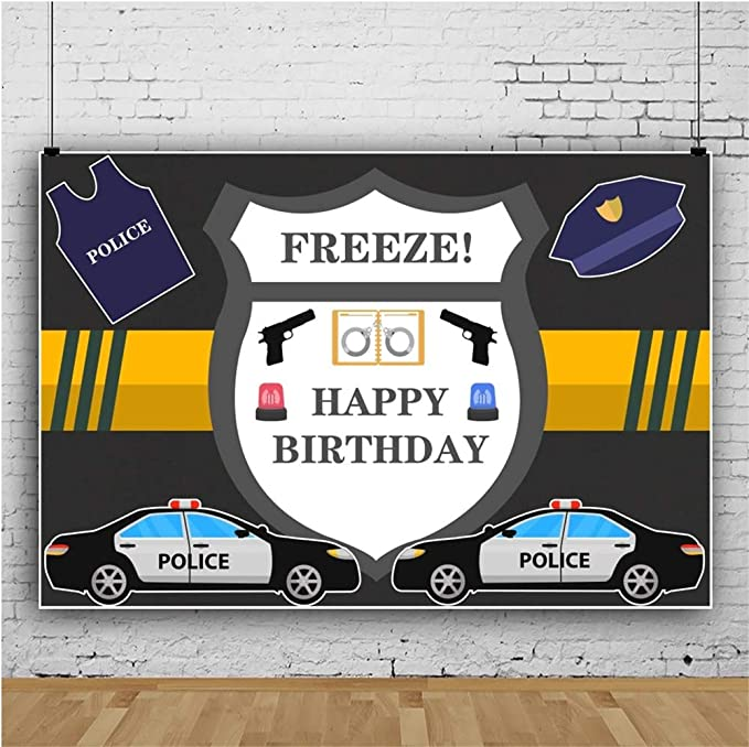 Police 8x10 FT Backdrop Photographers,Police Cartoon Car Cab Like Design with Furious Angry Eyes and Red Alarm Print Background for Photography Kids Adult Photo Booth Video Shoot Vinyl Studio Props