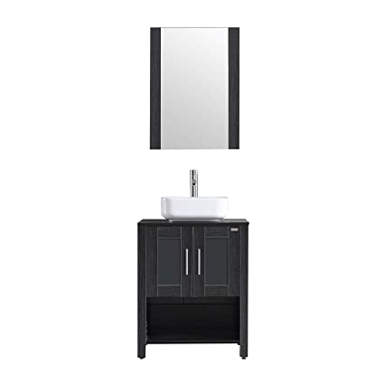 Wonline 24 Black Modern Bathroom Vanity With Shelf Adjustable Feet