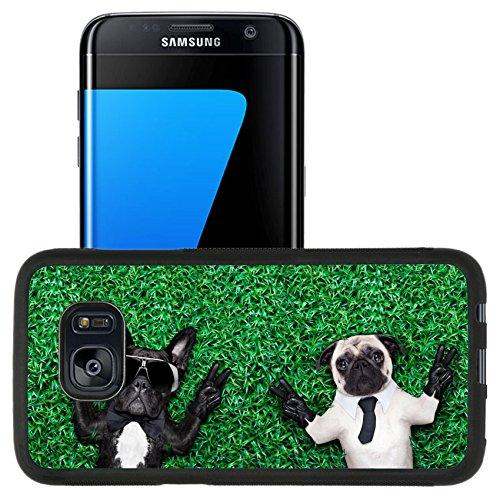 Luxlady Premium Samsung Galaxy S7 Edge Aluminum Backplate Bumper Snap Case IMAGE ID: 31641719 couple of two cool dogs on grass or meadow in the park with peace or victory - Fit Meadows Park