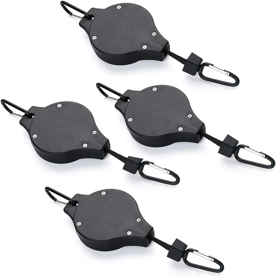 Plant Pulley Retractable Pulley Plant Hanger Adjustable and Retractable Plant Hangers Hanging Flower Basket Hook Hanger for Garden Pots and Birds Feeder in Different Height  4 Pack (4, Black)