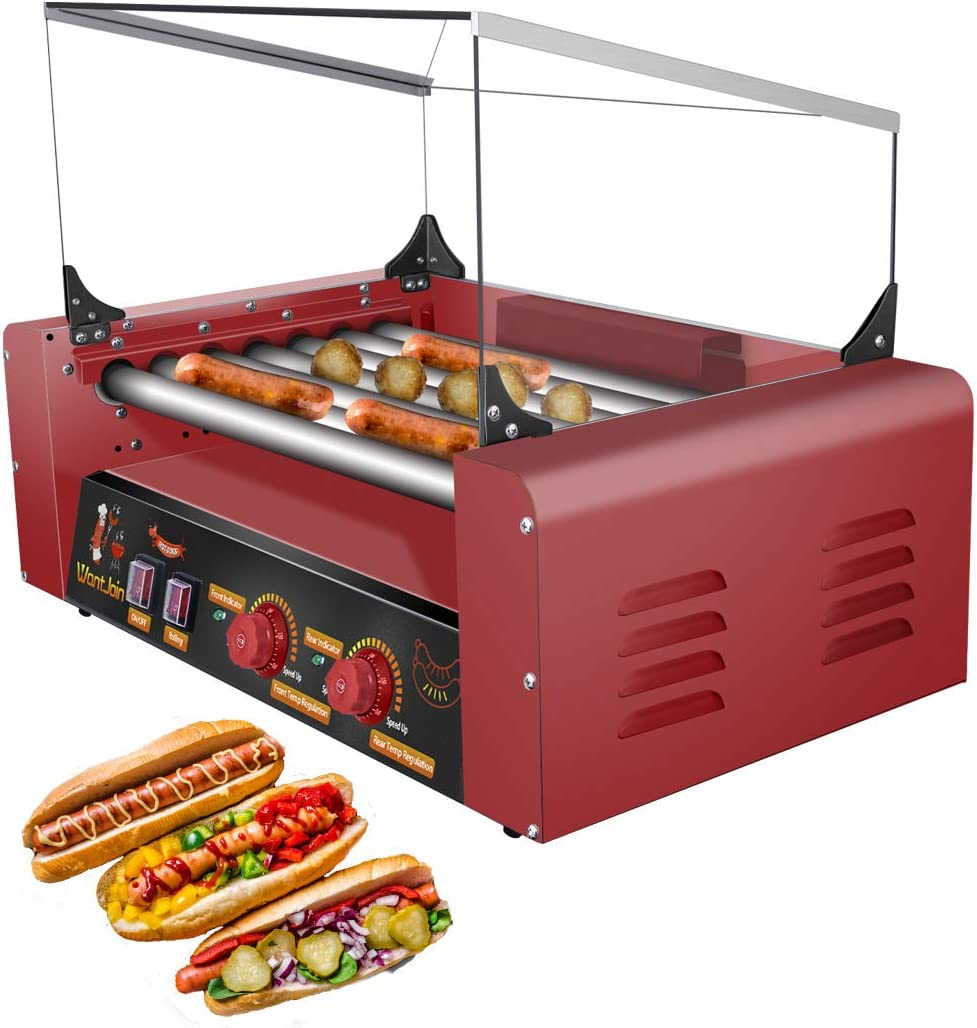 WantJoin Hot Dog Grill Machine, Commercial Electric Hot Dog roller Machine Sausage Machine Hot-dog 7 Roller Grill Cooker Machine With Cover (RED)