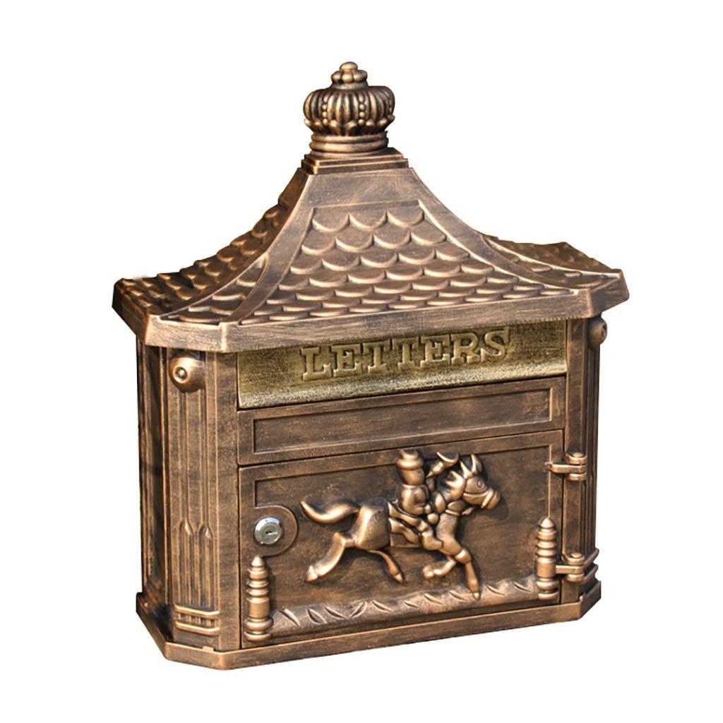 外箱、壁掛け郵便箱、屋外郵便箱、大容量安全郵便箱、装飾郵便箱、サイズ45.3 * 41 * 16cmのためのメールボックス (色 : Gold color)  Gold color B07NN6KT2C