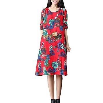 8ea83e9821980 LuckyGirls Vestido para Mujer Vestido de Diario Noche Fiesta Partido Cóctel  Retro Lino de Algodón Estampado de Floral Manga Larga Elegantes Faldas  Casual  ...