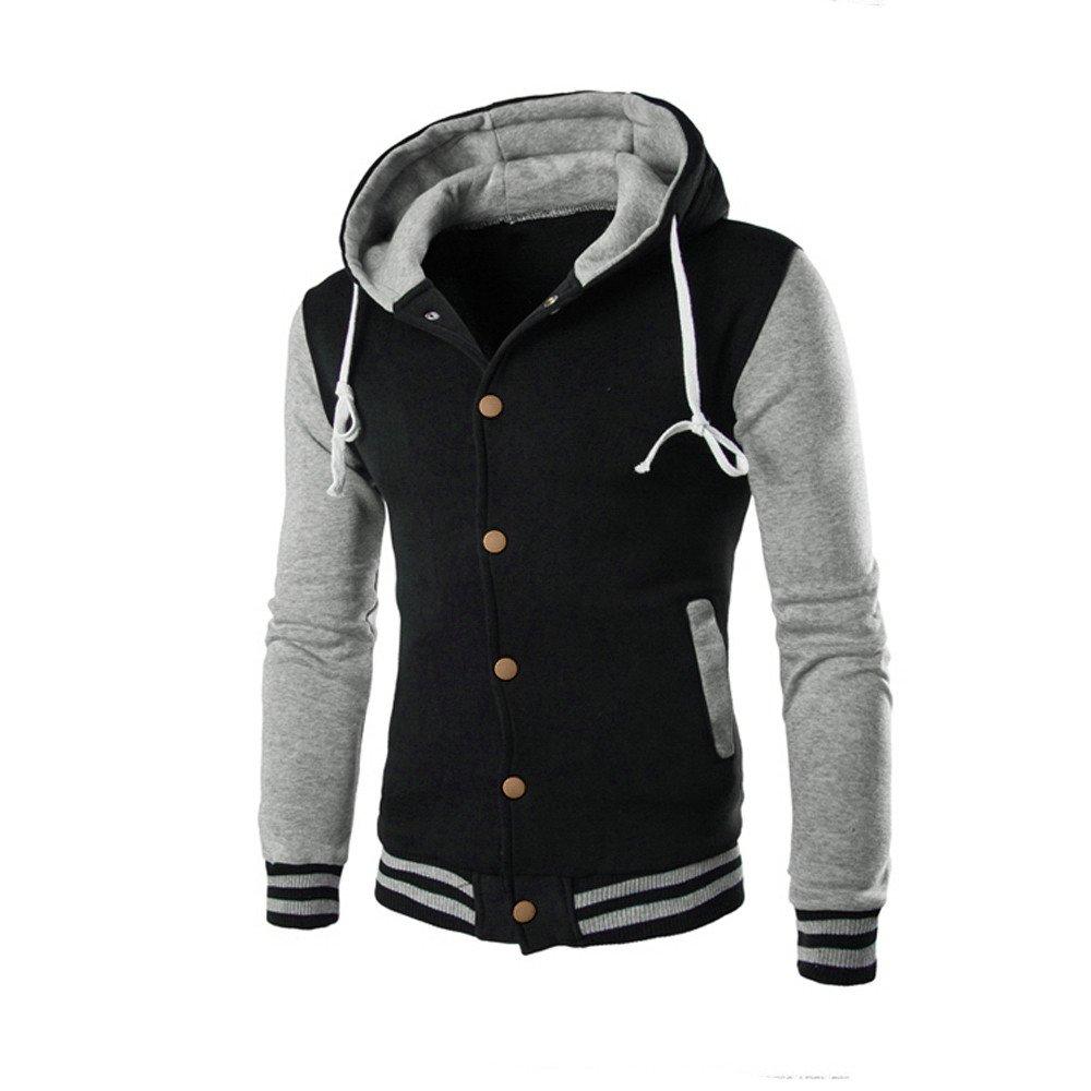 ZEFOTIM Men Coat Jacket Outwear Sweater Winter Slim Hoodie Warm Hooded Sweatshirt GY/XL(X-Large,Grey) by ZEFOTIM