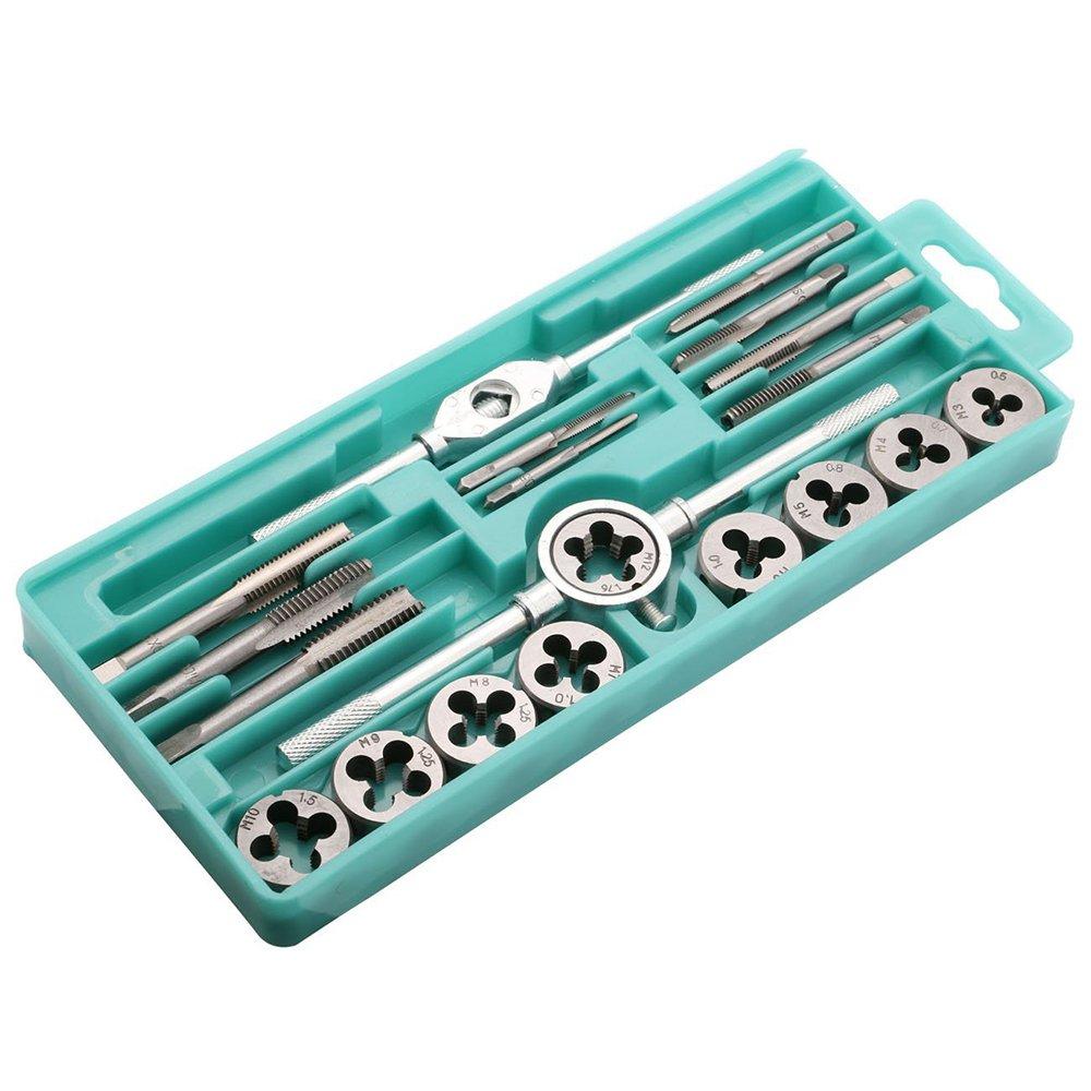 Kitspro 20pcs M3-M12 Manual Screw Thread Metric Plugs Taps wrench Die Wrench Tap Set by Kitspro