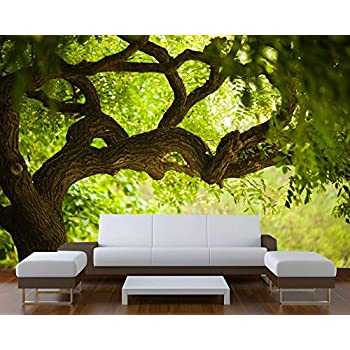 Startonight Mural Wall Art Photo Decor Tree on the Green Landscape Large 8-feet 4-inch By 12-feet Wall Mural for Living Room or Bedroom