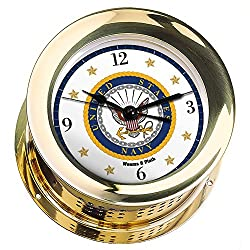 Weems & Plath Atlantis Brass Quartz Ship's Bell Clock #NV200100 01A (#7 Emblem Printed in Full Color with Black Numbers, Gold Stars, and Navy Blue Border)
