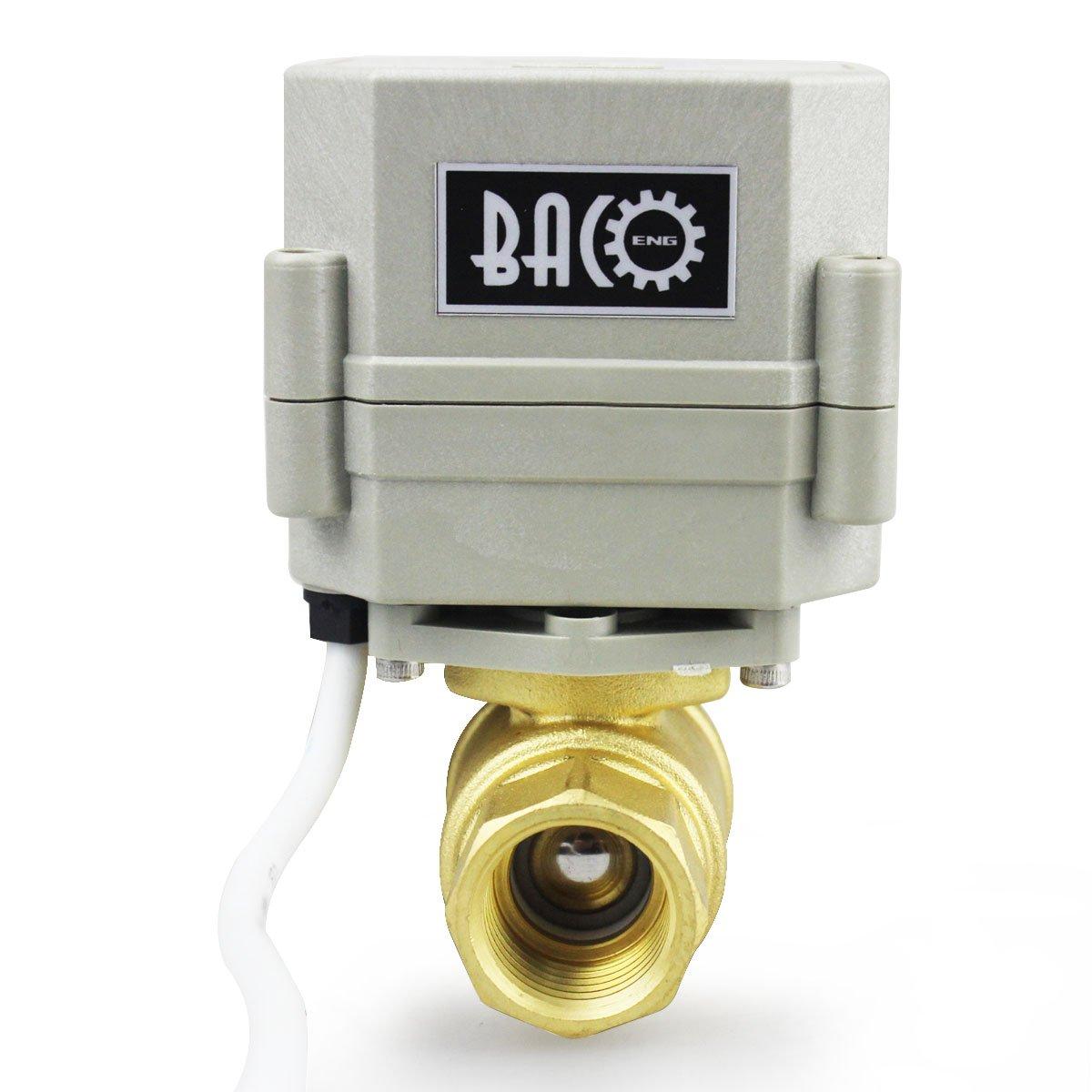 BACOENG 3//4 DN20 V/álvula Motorizada de Esfera de 2 V/ías de Acero Inoxidable de AC110//230V CR202 NC