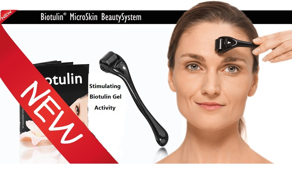 Biotulin Original Derma Roller - Cosmetic Needling Instrument For Face - Microneedle Roller - With Stable Surgical Steel & 540 Ultra-Thin 0.3 mm Tips - Stimulating Biotulin Gel Activity - From Germany