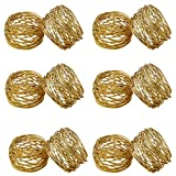 SKAVIJ Round Mesh Gold Napkin Rings Set of 12 Round for Weddings Dinner Parties or Every Day Use Gifts for Christmas