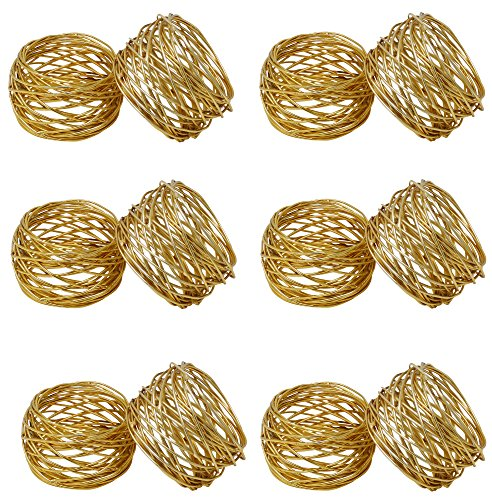 SKAVIJ Round Mesh Napkin Rings Set of 12 Gold for Wedding Banquet Dinner Decor Favor