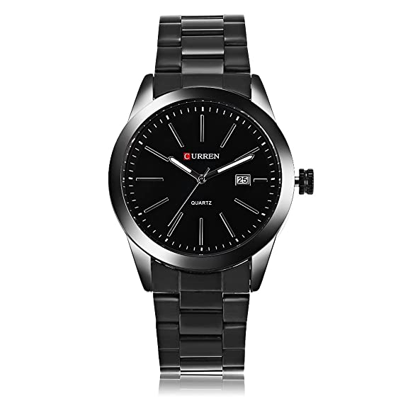 Curren hombres relojes de lujo del estilo del negocio de dial fecha auto Calendario Negro reloj de acero inoxidable: Amazon.es: Relojes