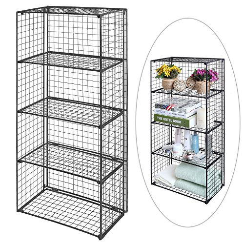Review Freestanding 4 Tier Black Metal Wire Storage Shelf Unit / By MyGift by MyGift