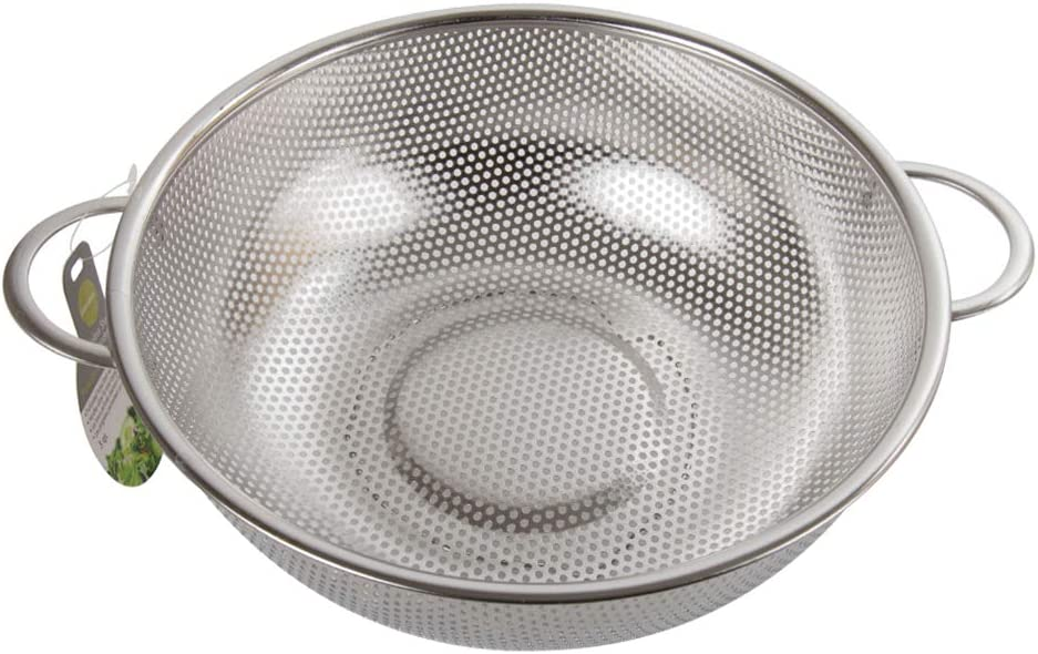10 x 3.5 inches Luciano Housewares Stainless Steel Perforated Colander with Two Handles Silver