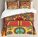 70s Party Decorations Duvet Cover Set King Size by Ambesonne, Hippie Vintage Mini Van Ornamental Backdrop Peace Sign, Decorative 3 Piece Bedding Set with 2 Pillow Shams, Coral Orange Turquoise