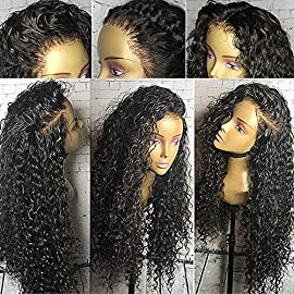Full Lace Wigs for Black Women 150% Density Pre Plucked Curly Human Hair Wigs Virgin Full Lace Front Wig with Baby Hair (12 inch, full lace wig)