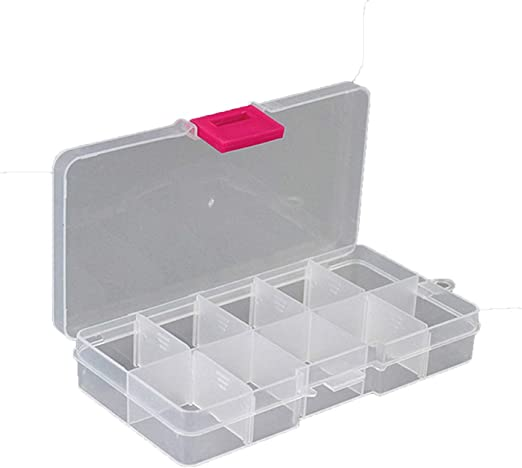 Small Parts Organizer 10 Compartment Red Deep Container Screws Nails Storage Box