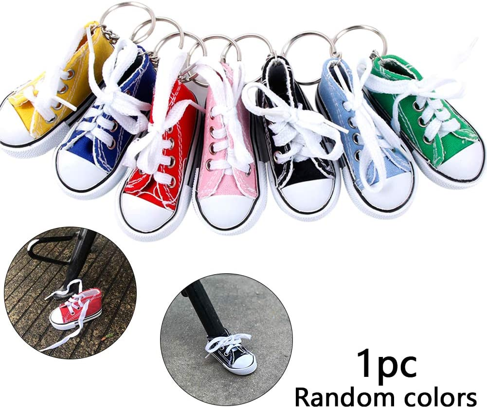 Motorcycle Bicycle Foot Support Decor Motorcycle Kickstand Pad Mini Canvas Finger Shoes Sneaker Keychains (Random Color)