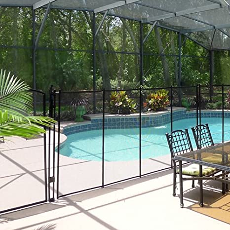Amazon.com: Sentry Safety Pool Fence Visiguard 4u0027 Tall 12u0027 Long Removable  Child Barrier Pool Safety Mesh Fence (Black): Garden U0026 Outdoor