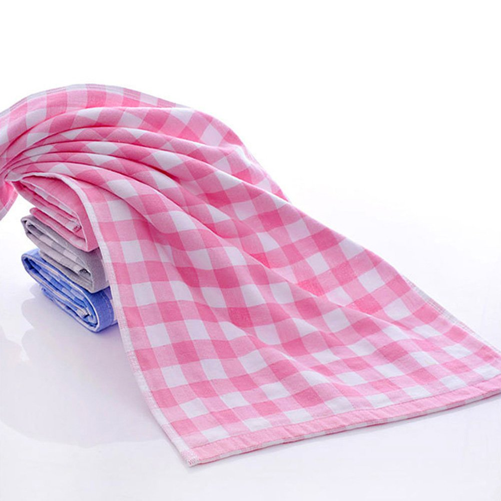 Lx10tqy Soft Cotton Towel Double Layers Grid Pattern Face Washing Cleaning Tool Gift - Pink
