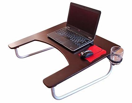 Cooldesk-Soporte para ordenador de mesa, de oficina con reposabrazos madera y portavasos,