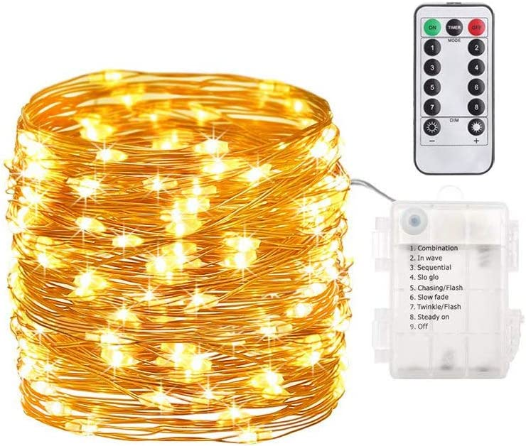 16.4 ft 100 led Fairy Tale lamp with Remote Timer Operation, Battery Operated String Lights.Flashing Firefly lamp, Bedroom, Garden, Easter, Party, Christmas Indoor and Outdoor Decoration Warm Color