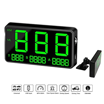COOLOUS C80 Universal Hud Heads Up Display 4.5inch Large Screen Digital Speedometer Altitude Speed Projector Film Over Speed Warning for Cars & Other Vehicles: Car Electronics