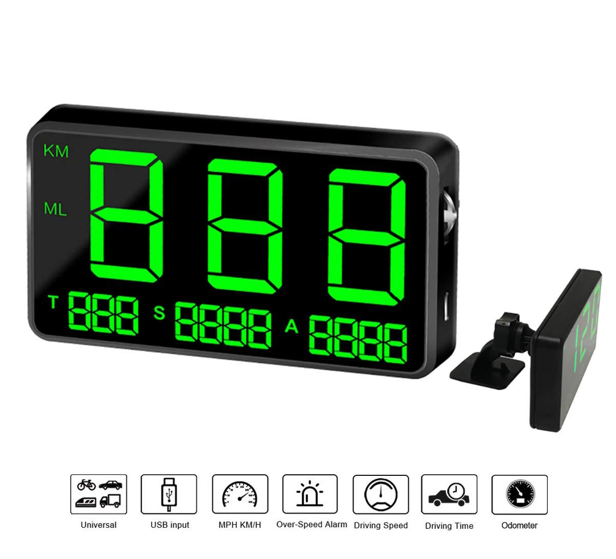 COOLOUS C80 Universal Hud Heads Up Display 4.5inch Large Screen Digital Speedometer Altitude Speed Projector Film Over Speed Warning for Cars & Other Vehicles by COOLOUS