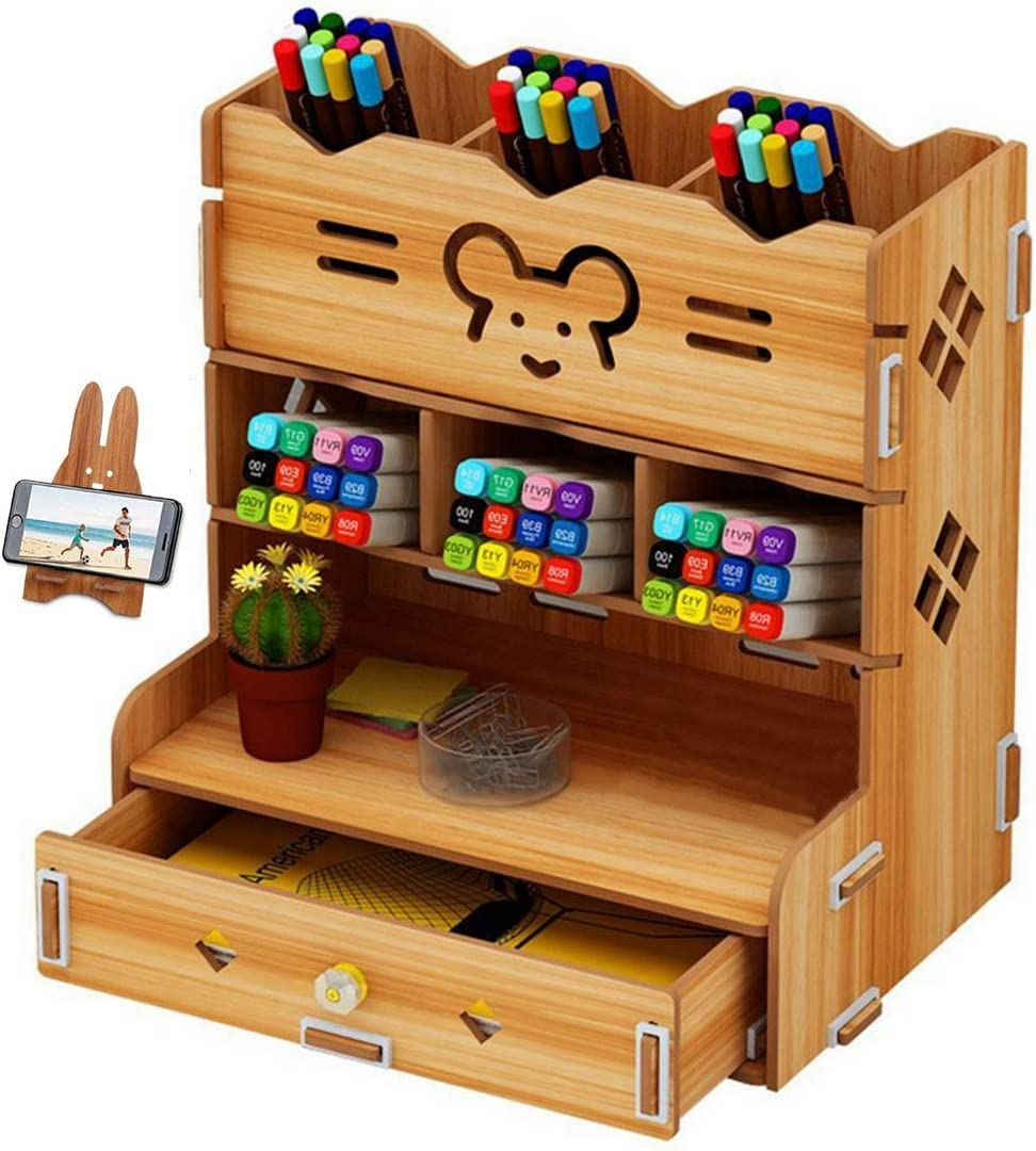 C&Life DIY Wooden Desk Organizer with Drawer, Pen Holder Box Desktop Stationary for Home Office School Supply Storage