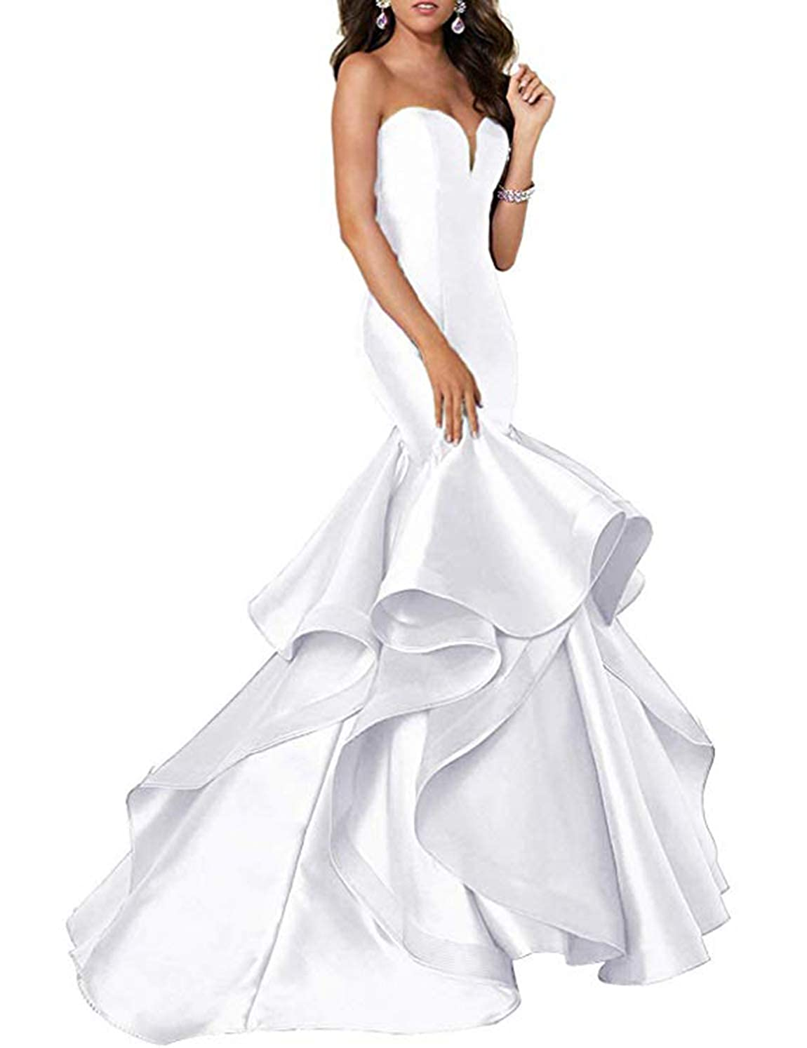 Ivory Scarisee Women's Sweetheart Mermaid Prom Evening Party Dresses Tiered FormalSA51