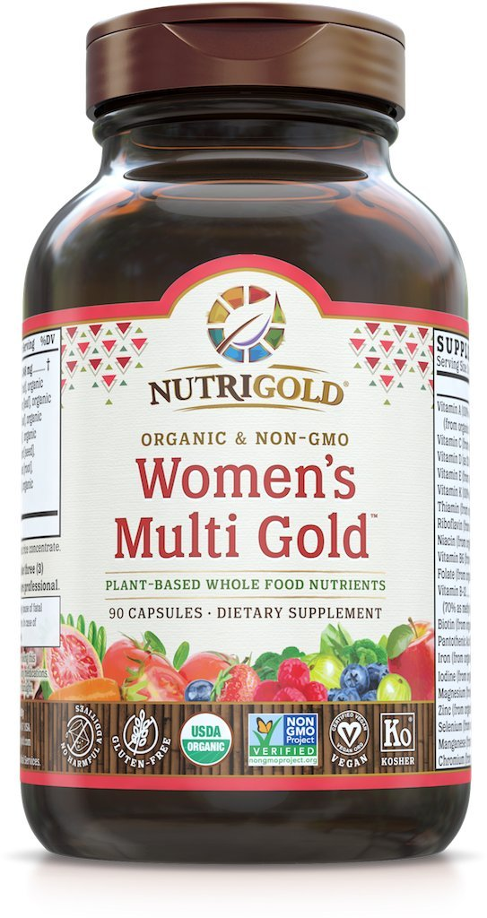 NutriGold Whole-Food Women's Multi Gold - 90 Veggie Capsules - Organic WholeFood Multivitamin Supplements with Minerals and Co-Factors for Superior Absorption and No Unpleasant Aftertaste (With Iron For Women) Food-Based, Gentle, Non-GMO, and No Synthetic Vitamins