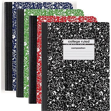 Staples Assorted Colors Composition Book ~ College Ruled 9 ¾ in X 7 ½ in (4 Pack) by Staples