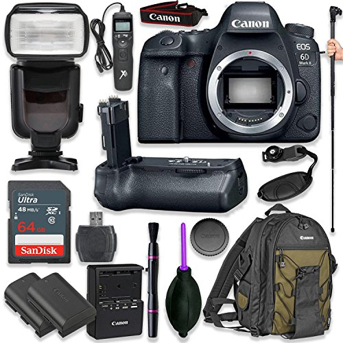 Canon EOS 6D Mark II Digital SLR Camera Body – Wi-Fi Enabled with Pro Camera Battery Grip, Professional TTL Flash, Deluxe Backpack 200EG, Universal Timer Remote Control, Spare LP-E6 Battery (16 items) Review