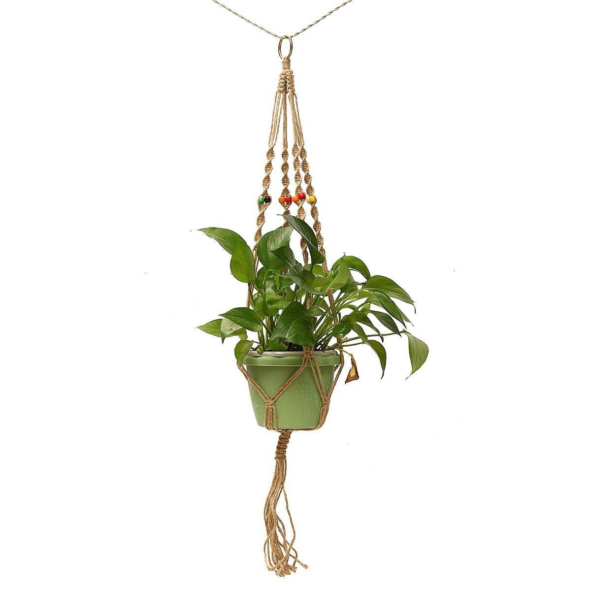 Jeteven 107cm Blumenampel Kordel aus Jute Seil Plant Hänger Hängepflanztopf,