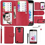 Wallet Case for LG G3, xhorizon TM SR Premium Leather Folio Case Wallet Magnetic Detachable Purse Multiple Card Slots Case Cover for LG G3 (Red with a 9H Tempered Glass Film)