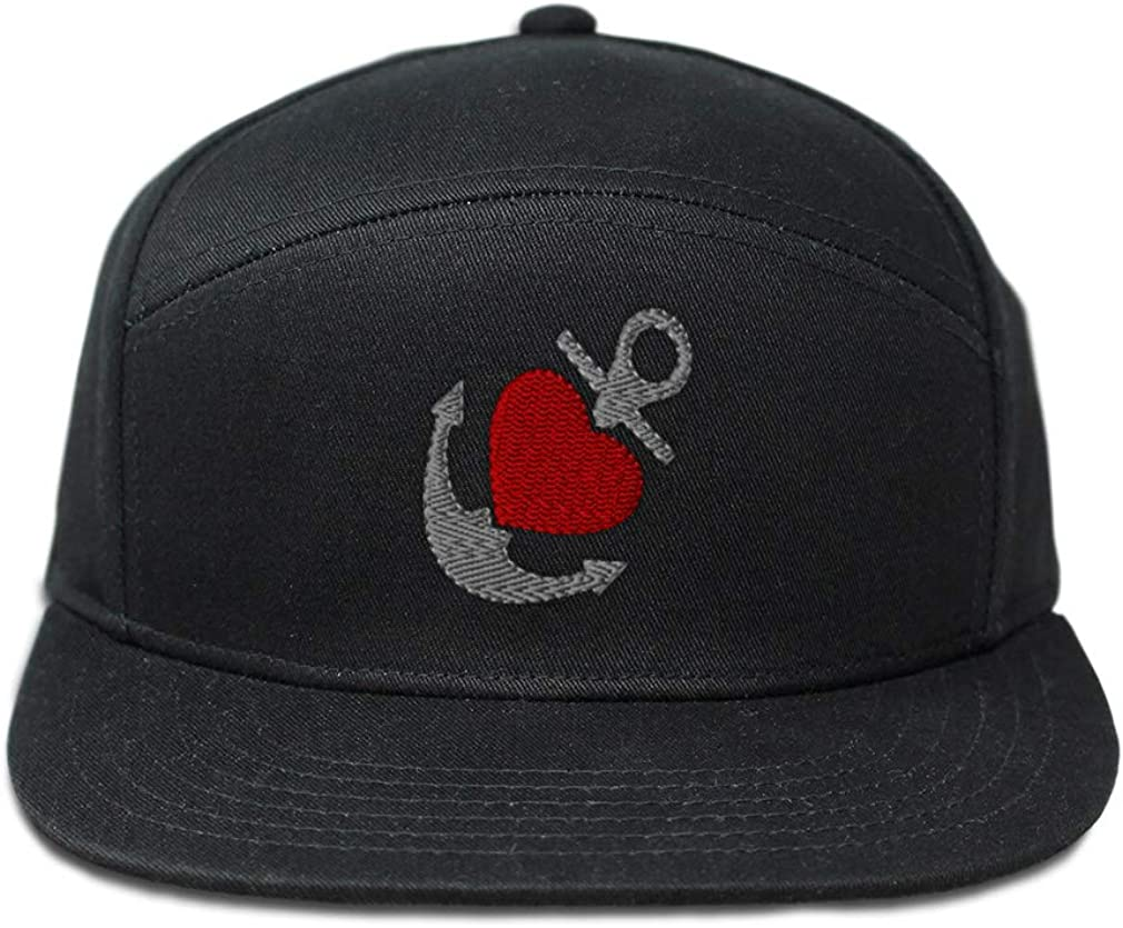 Custom Snapback Hats for Men /& Women Nautical Anchor with Heart C Embroidery