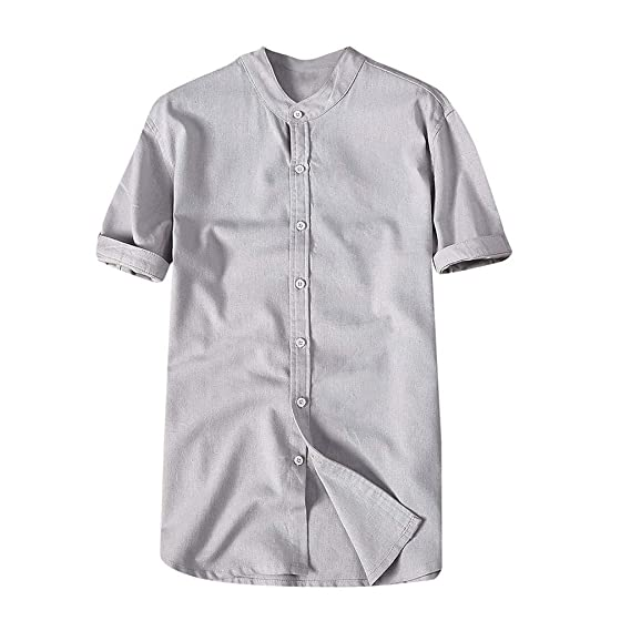 Amazon.com: OrchidAmor Fashion Mens Autumn Winter Button Casual Linen and Cotton Short Sleeve Blouse: Clothing