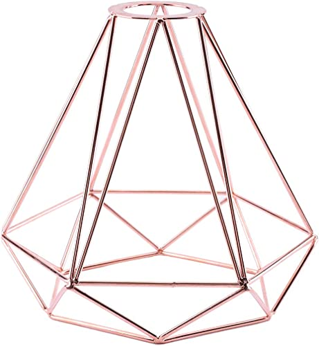 Pendant Light Shade, Lighting Metal Lamp Guard Retro Style Industrial Metal Bird Basket Cage Light Gold Hanging Rubbed Bronze Polygon Wire Pendant Light Art DIY Ceiling Light Fitting Rose Gold