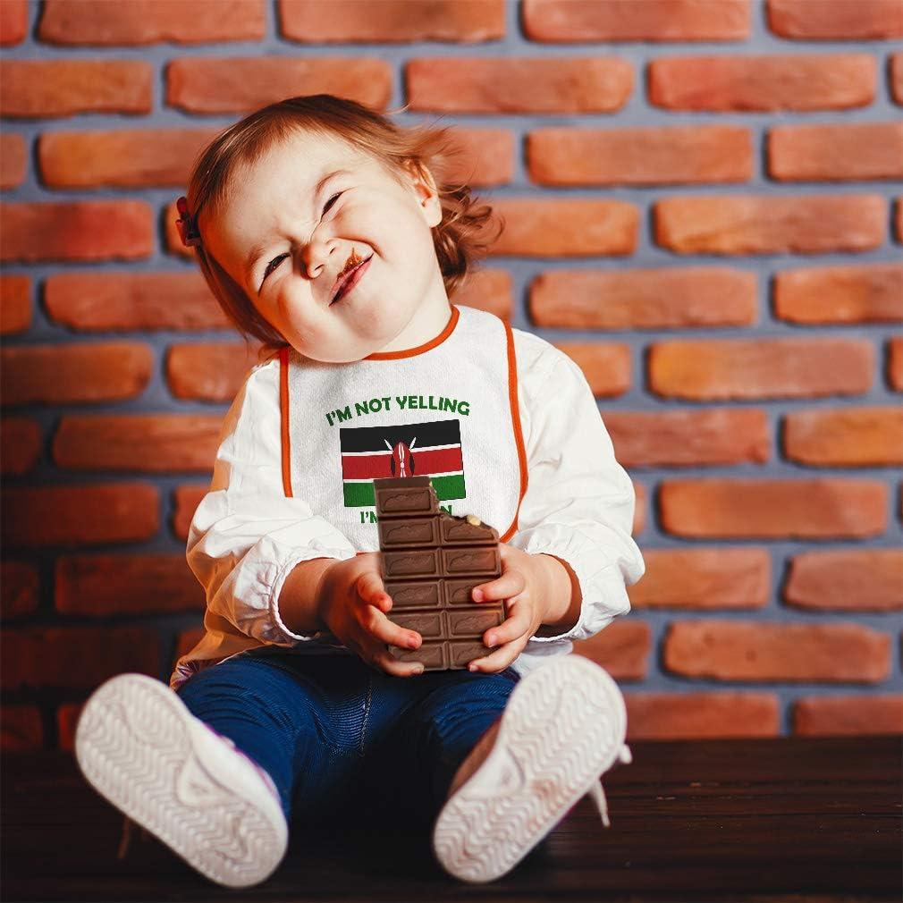 Custom Baby Bibs Burp Cloths Im Not Yelling I Am Kenyan Kenya Cotton Baby Items for Baby Girl /& Boy White Custom Text Here