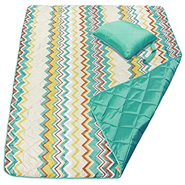 DOZZZ Waterproof Beach Blanket Water Resistant Picnic Blanket Camping Blanket Emergency Blanket Tote Mat Park Mat Outdoor Blanket Sand Proof Beach Blanket 60 x 50 Inchens, ZIGZAG Blue Yellow