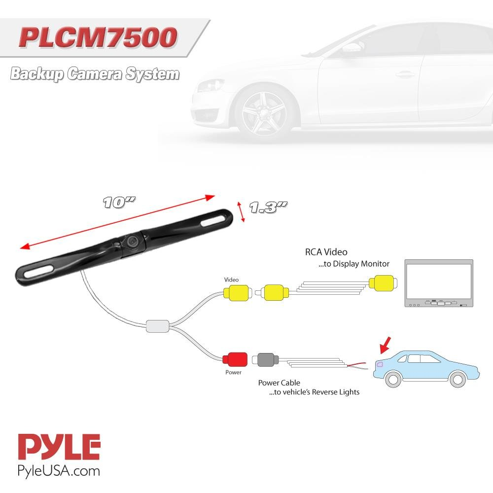 61SLdyLTIJL._SL1000_ amazon com pyle backup car camera rear view screen monitor system plcm7500 wiring diagram at readyjetset.co