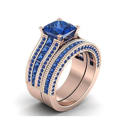 Mejor compromiso anillos de boda en 3,20 ct Circonita Azul Corte Princesa de Cristal