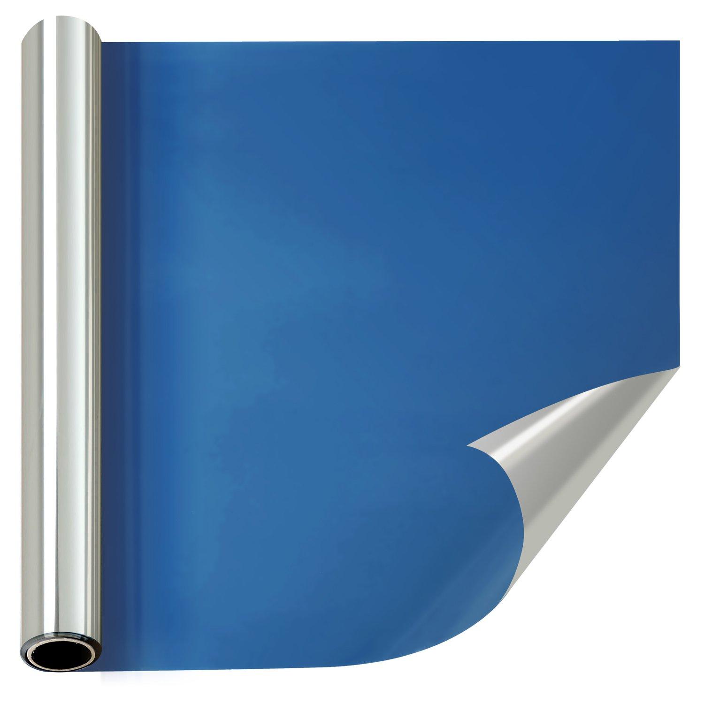 窓断熱シート マジックミラーフィルム 目隠し 赤外線/紫外線カット 冷暖房効率アップ 静電気吸着 家とオフィスに対応する 装飾的な薄色窓フィルム シート シール(90cm×1000cm, ブルーシルバー) B07BNSQNWX 90cmx1000cm|ブルーシルバー ブルーシルバー 90cmx1000cm