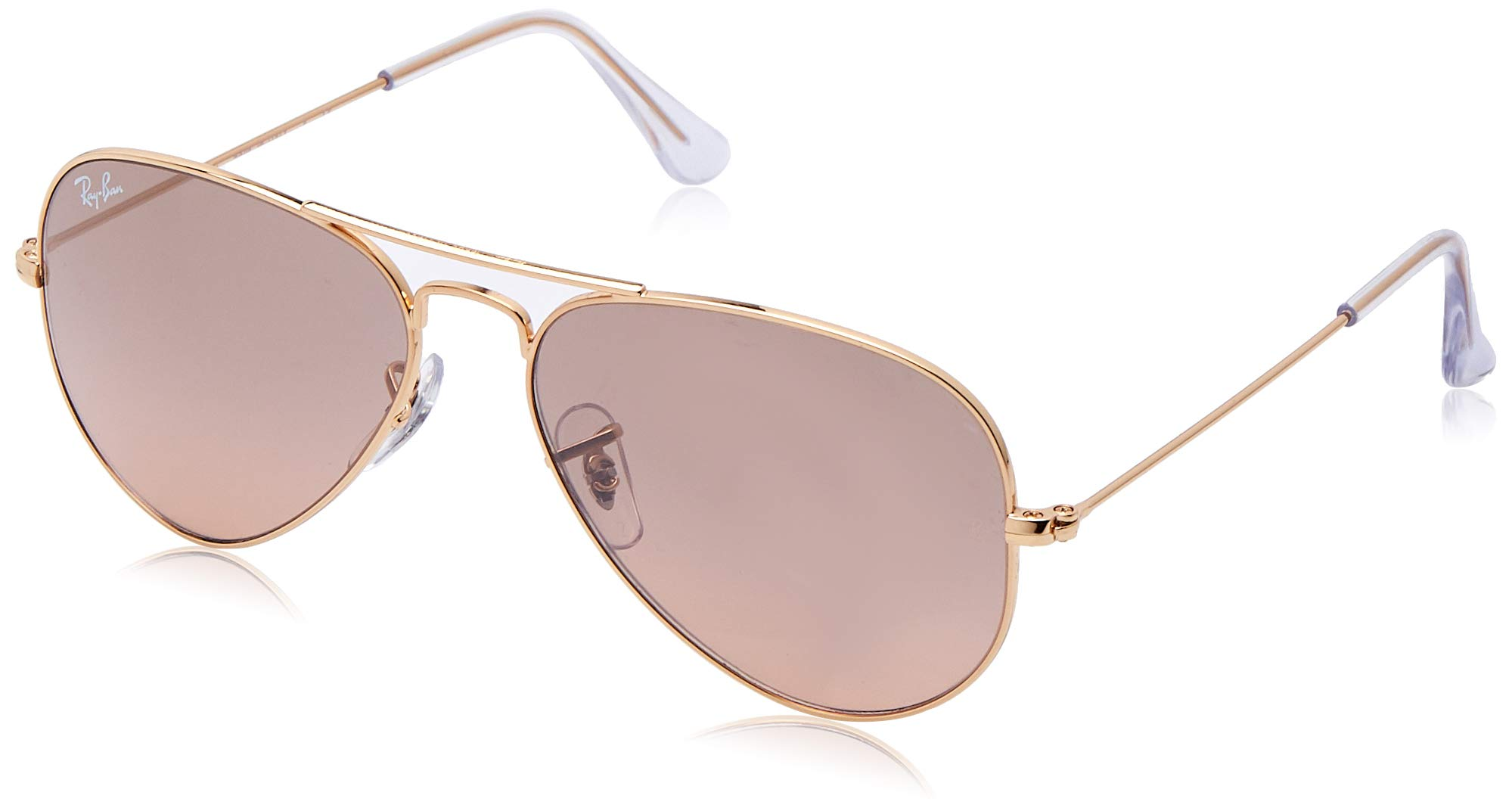 RAY-BAN RB3025 Aviator Large Metal Sunglasses, Gold/Pink Mirror Gradient, 55 mm by RAY-BAN