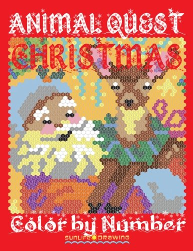 CHRISTMAS ANIMAL QUEST Color by Number: Activity Puzzle Coloring Book for Adults Relaxation & Stress Relief (Quest Coloring Books) (Volume 5)