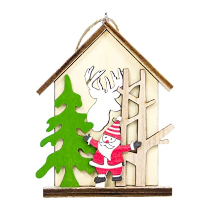 Christmas Wood Crafts.Amazon Com Ringbuu 1 Pc Creative Christmas Wooden Pendants